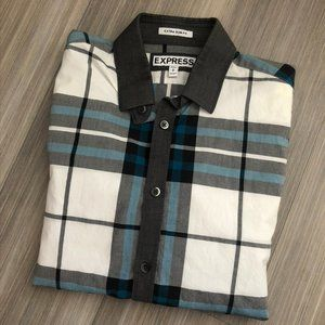 Extra Slim Plaid Print Cotton Shirt